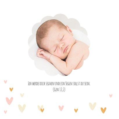 Dankeskarte Taufe Fotos und kleine Herzen 2