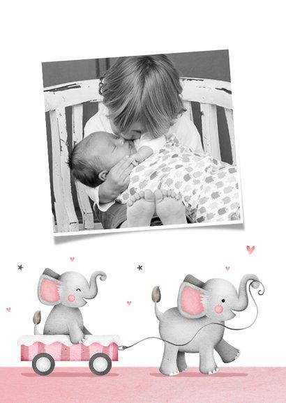 Dankeskarte Taufe kleine Schwester Elefanten und Herzen 2