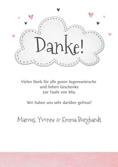 Dankeskarte Taufe kleine Schwester Elefanten und Herzen 3