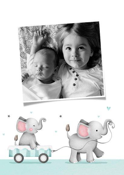 Dankeskarte Taufe kleiner Bruder Elefanten und Herzen 2