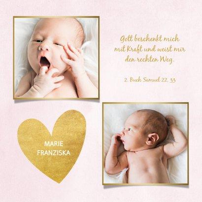 Dankeskarte Taufe rosa Fotos & Goldherzen 2