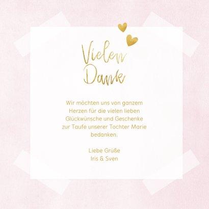 Dankeskarte Taufe rosa Fotos & Goldherzen 3
