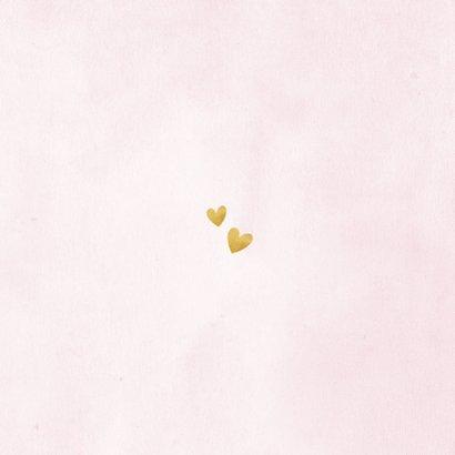 Dankeskarte Taufe rosa Fotos & Goldherzen Rückseite
