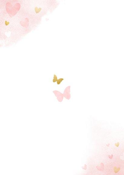 Dankeskarte Taufe rosa großer Bruder und kleine Schwester Rückseite