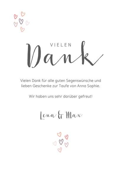 Dankeskarte Taufe rosa Regenbogen und Fotos 3