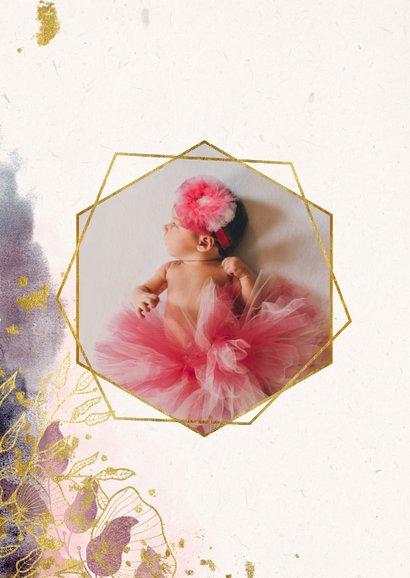 Dankeskarte Taufe Watercolour rosa botanisch 2