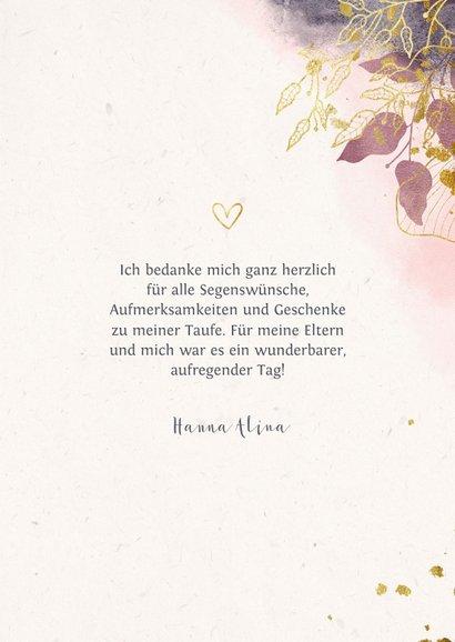 Dankeskarte Taufe Watercolour rosa botanisch 3