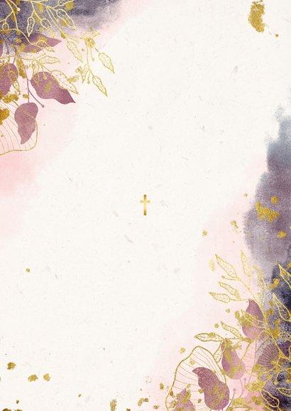 Dankeskarte Taufe Watercolour rosa botanisch Rückseite