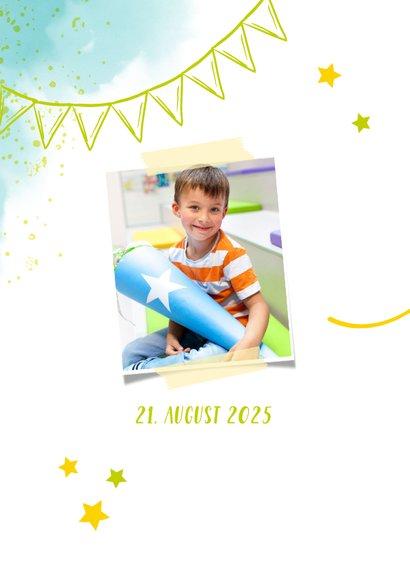 Dankeskarte zur Einschulung Foto & blaugrüne Kleckse 2