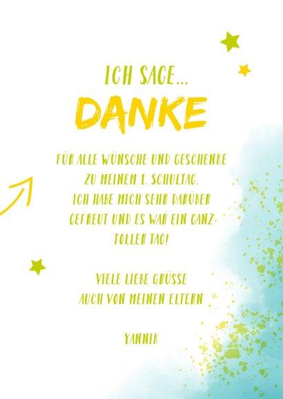 Dankeskarte zur Einschulung Foto & blaugrüne Kleckse 3
