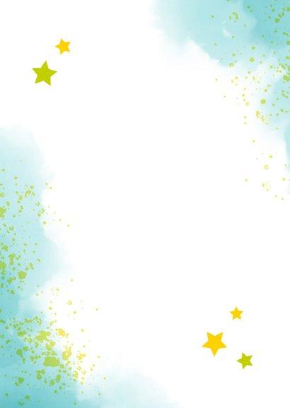 Dankeskarte zur Einschulung Foto & blaugrüne Kleckse Rückseite