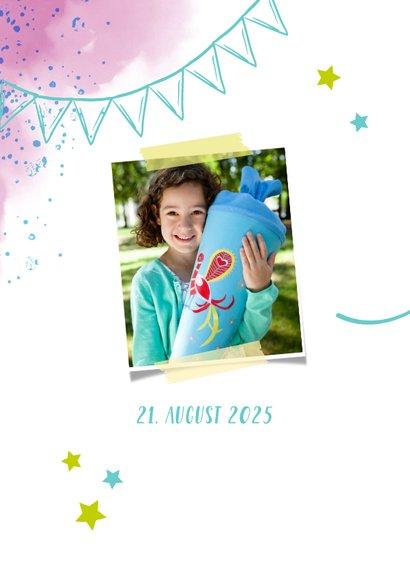 Dankeskarte zur Einschulung Foto & rosablaue Kleckse 2