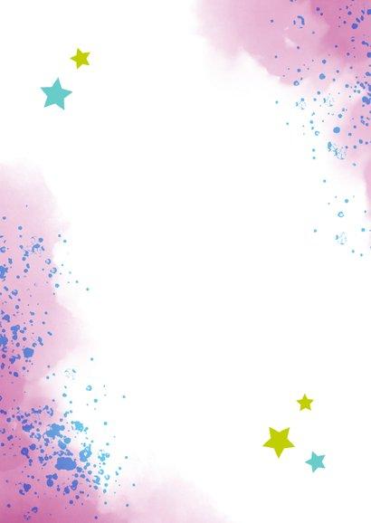 Dankeskarte zur Einschulung Foto & rosablaue Kleckse Rückseite