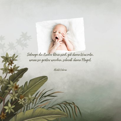 Dankeskarte zur Geburt Dschungel, Papagei Foto innen 2