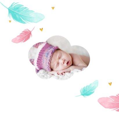 Dankeskarte zur Geburt Federn Foto innen 2
