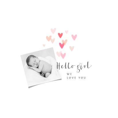 Dankeskarte zur Geburt Foto & rosa Herzchen 2