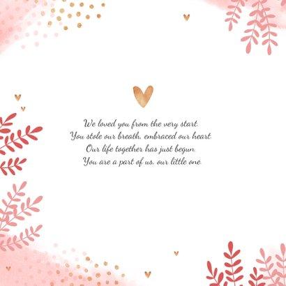 Dankeskarte zur Geburt Foto und rosa Zweige 2