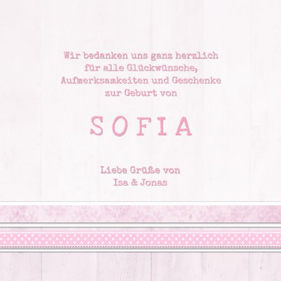 Dankeskarte zur Geburt Fotocollage rosa 3