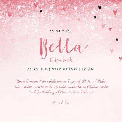 Dankeskarte zur Geburt rosa mit Fotos und Herzchen 3