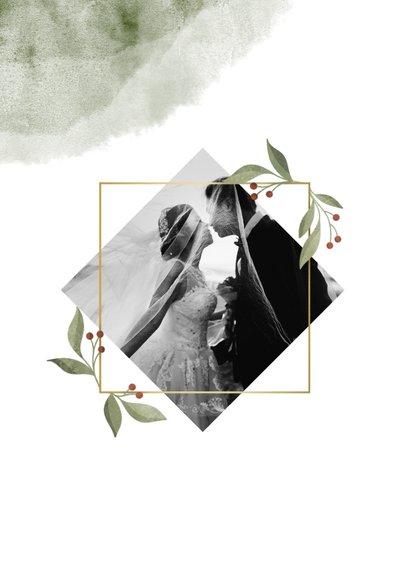 Dankeskarte zur Hochzeit Aquarell & Zweige mit Foto 2