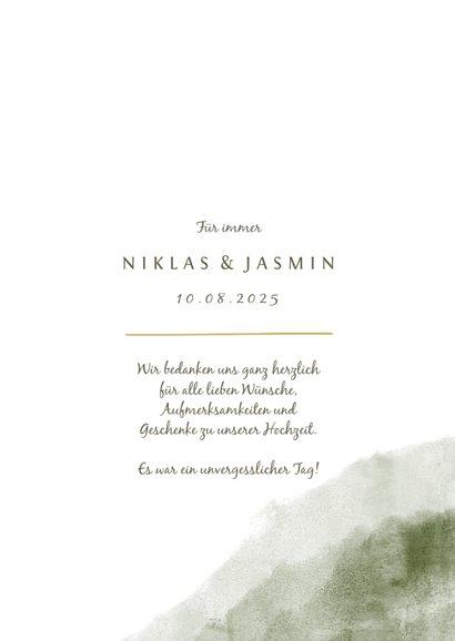 Dankeskarte zur Hochzeit Aquarell & Zweige mit Foto 3