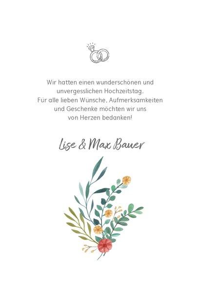 Dankeskarte zur Hochzeit Blumenornamente 3