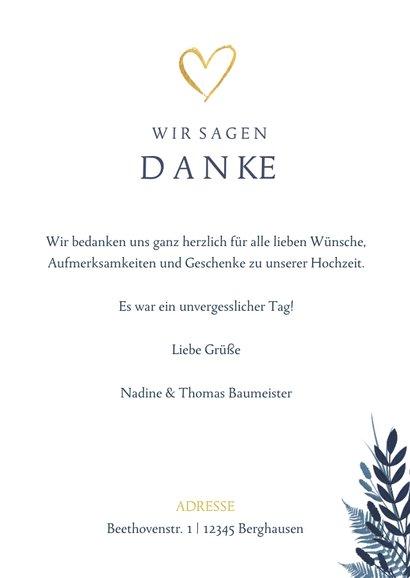 Dankeskarte zur Hochzeit dunkelblau Pflanzen & Foto 3