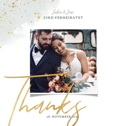 Dankeskarte zur Hochzeit Eukalyptus & Foto 2