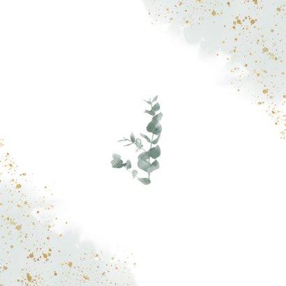 Dankeskarte zur Hochzeit Eukalyptus & Foto Rückseite
