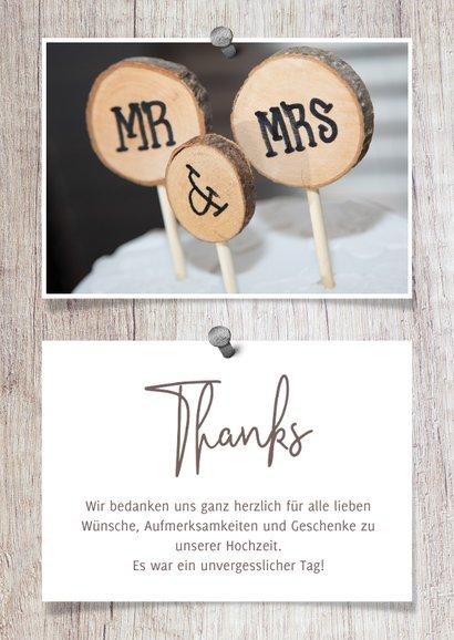 Dankeskarte zur Hochzeit Fotos auf Holz 3