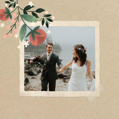 Dankeskarte zur Hochzeit mit Foto im botanischen Look  2