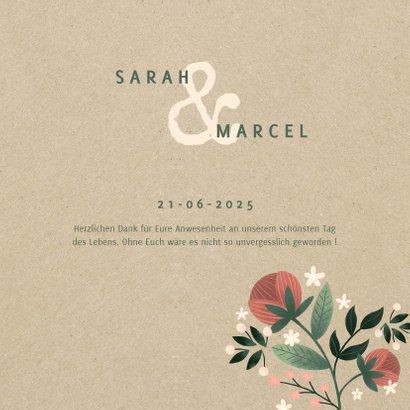 Dankeskarte zur Hochzeit mit Foto im botanischen Look  3