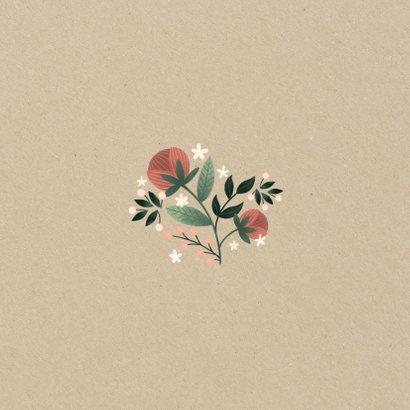 Dankeskarte zur Hochzeit mit Foto im botanischen Look  Rückseite