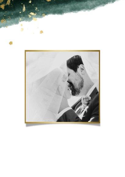 Dankeskarte zur Hochzeit mit Foto in grün und gold  2