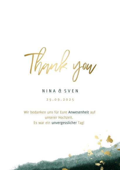 Dankeskarte zur Hochzeit mit Foto in grün und gold  3