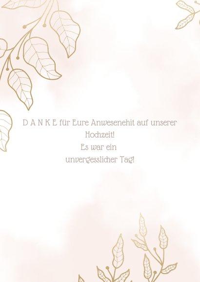 Dankeskarte zur Hochzeit mit Foto und eleganten Blumen 2