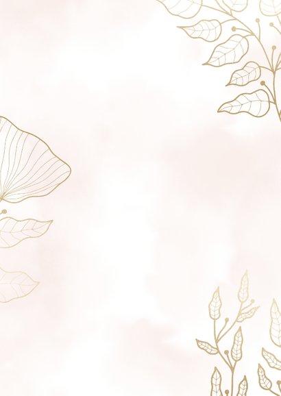 Dankeskarte zur Hochzeit mit Foto und eleganten Blumen Rückseite
