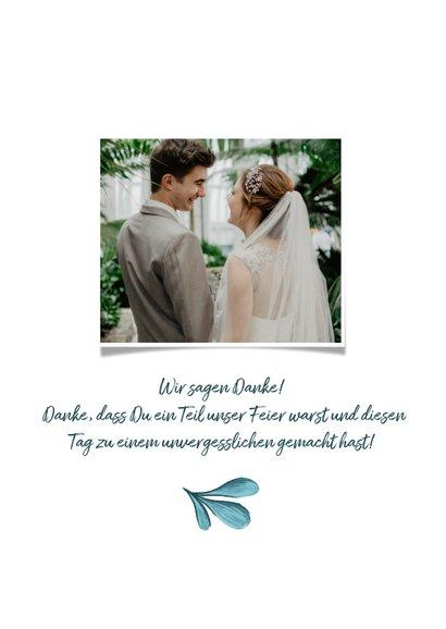 Dankeskarte zur Hochzeit mit Foto und gemalten Zweigen 3