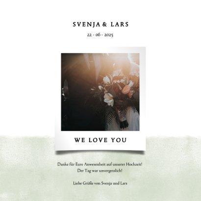 Dankeskarte zur Hochzeit mit Foto und schwarzen Punkten  3