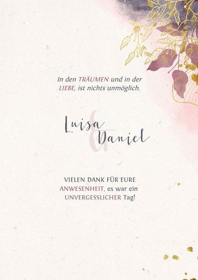 Dankeskarte zur Hochzeit mit Foto und stilvollen Blumen 3