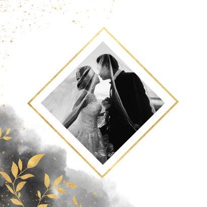 Dankeskarte zur Hochzeit mit Foto, Wasserfarbe und Zweigen 2