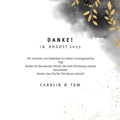 Dankeskarte zur Hochzeit mit Foto, Wasserfarbe und Zweigen 3