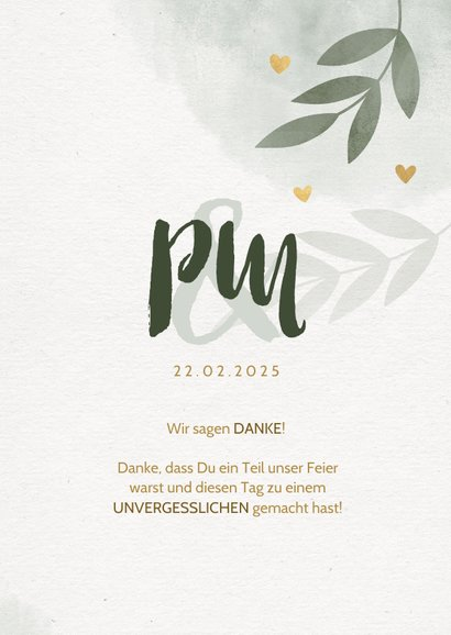 Dankeskarte zur Hochzeit mit Foto, Zweigen und Herzen 3