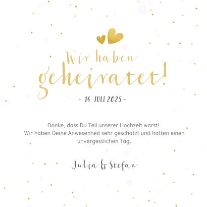 Dankeskarte zur Hochzeit mit Fotocollage und Herzen  3