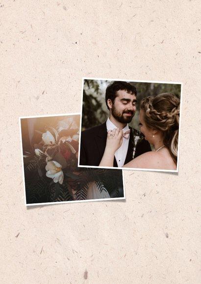 Dankeskarte zur Hochzeit mit Fotos & Tauben natürlicher Look 2