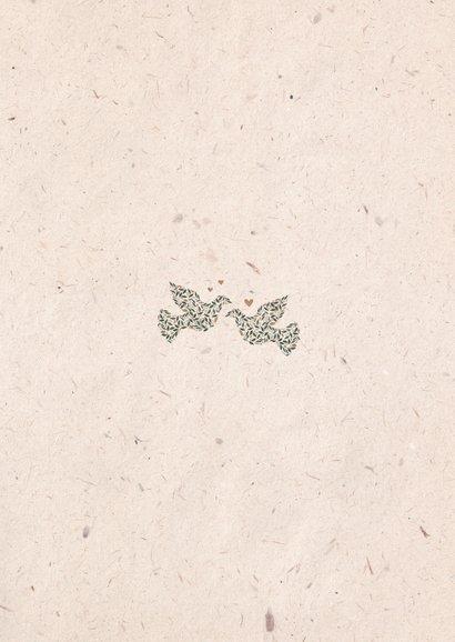 Dankeskarte zur Hochzeit mit Fotos & Tauben natürlicher Look Rückseite