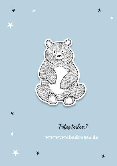 Dankeskarte zur Taufe eigene Fotos blau Bär und Sterne 2