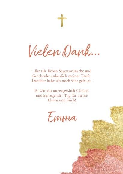 Dankeskarte zur Taufe Foto metallic rosé 3