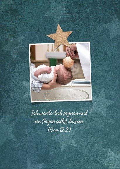 Dankeskarte zur Taufe Sterne im Holzlook und Foto 2