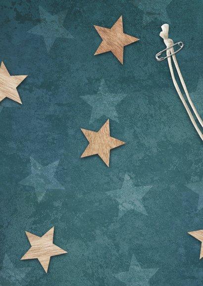 Dankeskarte zur Taufe Sterne im Holzlook und Foto Rückseite